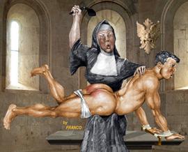 Nun spank strap ruler boy